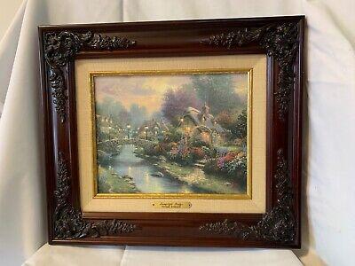 "Thomas Kinkade Framed ""LAMPLIGHT BRIDGE"" on Canvas Brushwork Textured With COA"