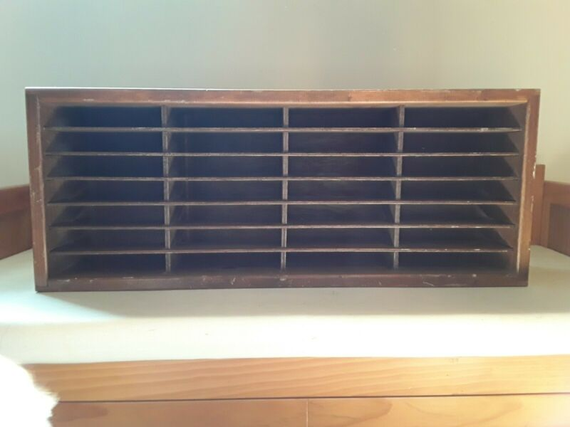 Original Napa Valley 28 Slot Cassette Tape Storage Rack Wood Construction 22 x 9