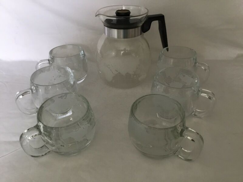 VTG 'THE NESTLE CO.' ETCHED GLOBE COFFEE POT & 6 CUPS, SET OF 7