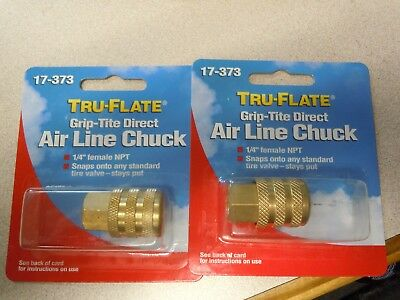 Plews Tru-flate 17-373 Air Line Compressor 14 Chuck Female Hose Fitting -2pc.