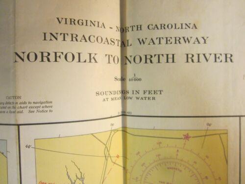 US Coast & Geodetic Survey Chart Intracoastal Waterway N. Carolina Neuse 1955