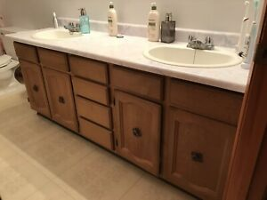 Bathroom vanity and cabinets 76""
