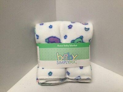 Fleece Receiving Blanket Blue Green White Teddy Bears Print Simply Basic New (Green Fleece Baby Receiving Blanket)