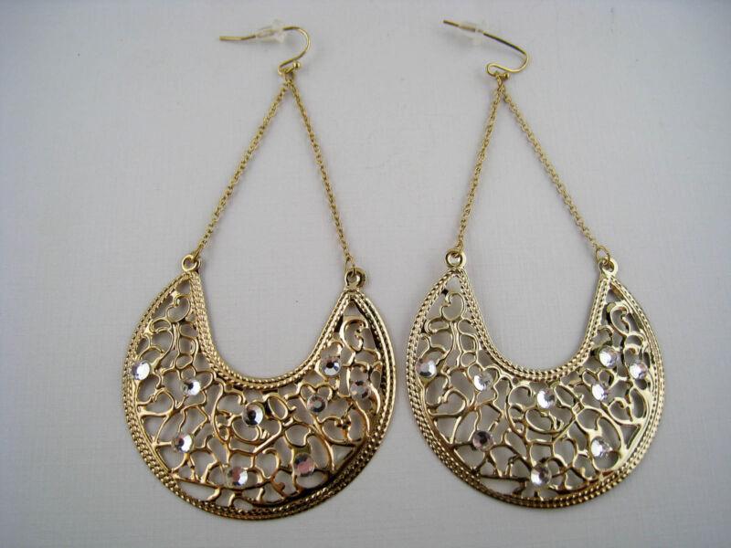Vintage Style Dangling Filigree Goldtone Rhinestone Earrings