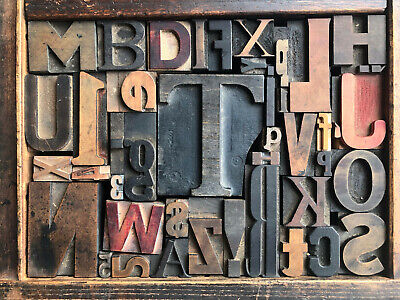 Antique Letterpress Printers Wood Type Mix 43 Pieces W Full Alphabet