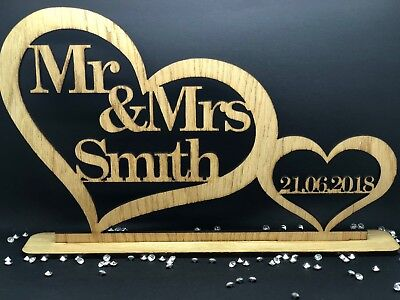 Personalised Mr & Mrs Wooden Top Table Sign & Date Mr and Mrs Wedding Gift