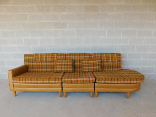 Vintage Mid Century Faux Ostrich & Plaid 3 Section Sofa