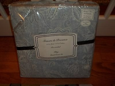 NIP Tresors de Provence Smutty Floral Linen/Cotton King Duvet Cover & Shams Set 3p