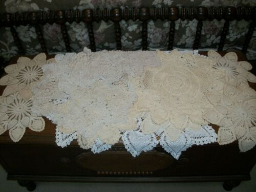 Lot of 18 Vintage Hand Crocheted Pineapple Doilies White Ecru