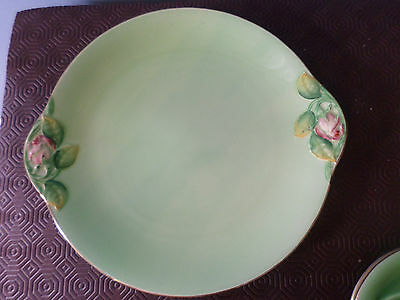 Vintage Royal Winton / Grimwades Cake / Sandwich Plate, Green Rosebud design