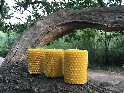 100% ORGANIC HANDMADE BEESWAX CANDLES * SET OF 3 CANDLES *