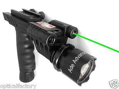 Rifle Vertical Foregrip Grip   600 Lumen Flashlight And Green Laser Combo Sight