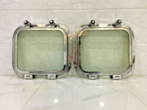 VINTAGE OLD ANTIQUE RECTANGLE 2 DOGS SHIP SALVAGE PORTHOLE WINDOW ALUMINUM 2 PCS