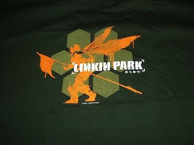 Vintage 2001 Linkin Park Hybrid Theory Concert Large Green Shirt