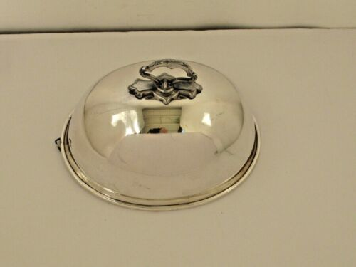 """Antique small Silver Plate Food Cover / Dome 9 1/2"""" long"""