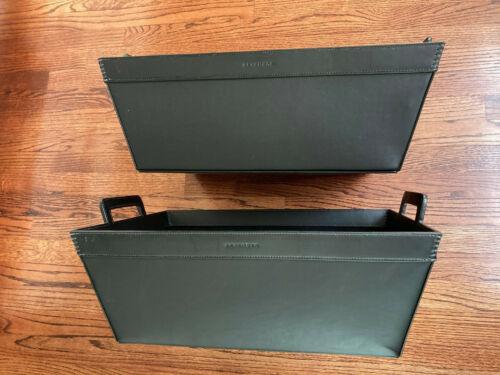 Set of 2 Vintage Levenger Black Leather Handled Bin Organizer Flock Lined