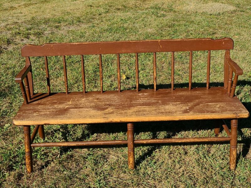 VINTAGE RUSTIC WINDSOR DEACONS TAVERN FOYER GARDEN BENCH CHAIR