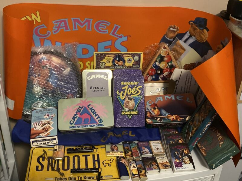 Joe Camel Pool Clock Cards Tins W/ Matches Lighters Zippo Banner Billard Bag LOT
