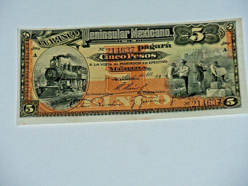 1914 Mexico Banco 5 Pesos Banknote P# S465a Train, Locomotive Crisp Unc CU