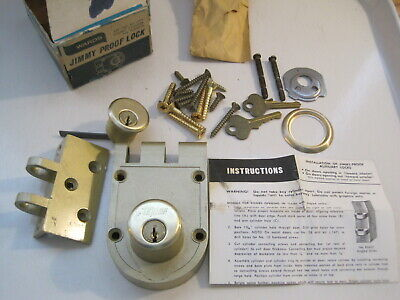Unused Vintage Taylor Jimmy Proof Lock Deadbolt Double Cylinder Pin Tumbler Ward