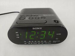 Sony Dream Machine ICF-C218 AM FM Alarm Clock Radio Auto Time Set Black Tested