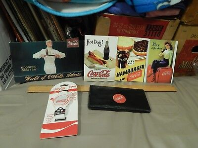 Coca-Cola ~ Coke ~ LOT of 6 ~ Postcards + Checkbook/Wallet + LED White Watch
