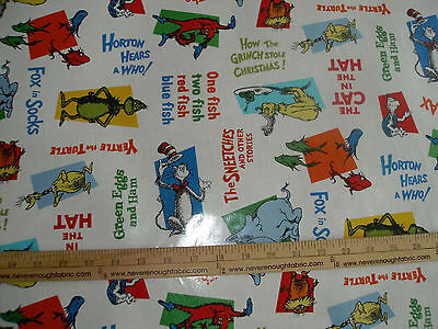 LAMINATED Cotton Fabric  Dr Seuss Characters on white Cat in the Hat Grinch BTY - Seuss Characters