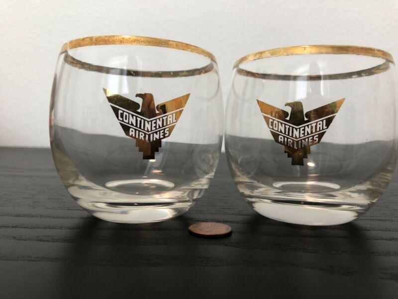 Vintage 40s-50s Continental Airlines Eagle Gold Accent Logo Rim Glass RARE LOT 2