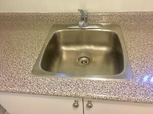 Almost NEW Sink and Moan faucet (countertop free. 4')