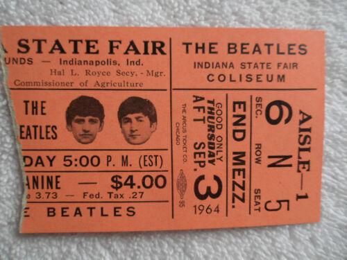 THE BEATLES Original_1964_CONCERT TICKET STUB__Indianapolis__NM-