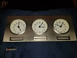 Pottery Barn Around The World Clock Brushed Nickel LEFT CLOCK DOES NOT WORK