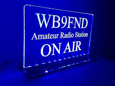 Multi Colors 110V Custom Engraved LED Ham Shack Amateur Radio Call Sign Plaque on Rummage