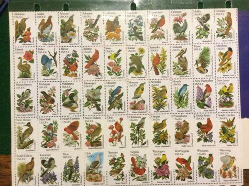 Us 1953-2002 State Birds & Flowers Full Sheet Or Set Of 50 Singles Mnh