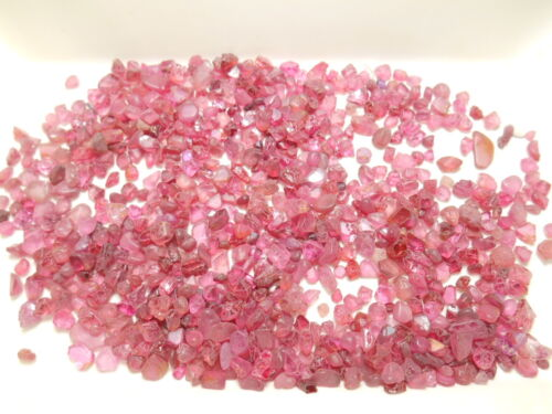 Spinel faceting rough parcel. 70 gms. 5 gm minimum. Pink and ruby reds. Burma.