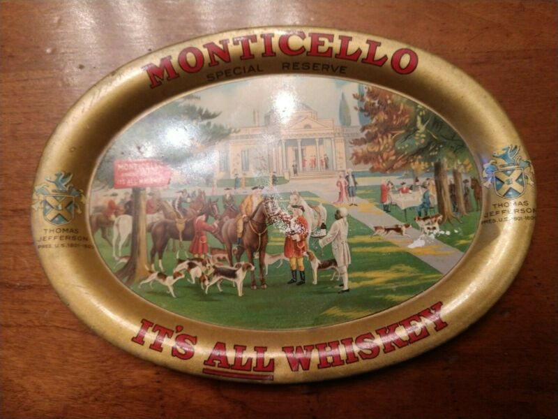 1905 MONTICELLO SPECIAL RESERVE WHISKEY TIP TRAY BALTIMORE, MD BLACK AMERICANA