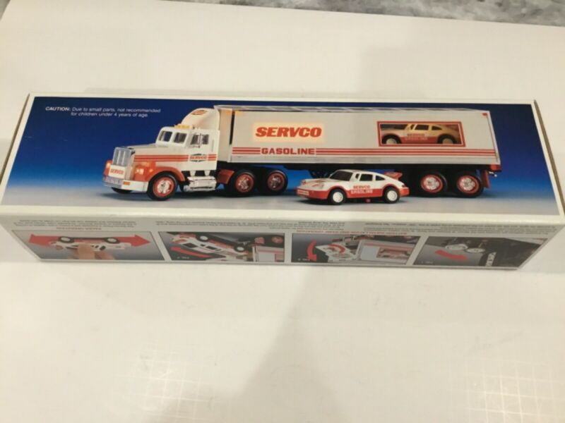 NOS 1993 Servco  Tractor Trailer With Race Car New in Original Box Excellent