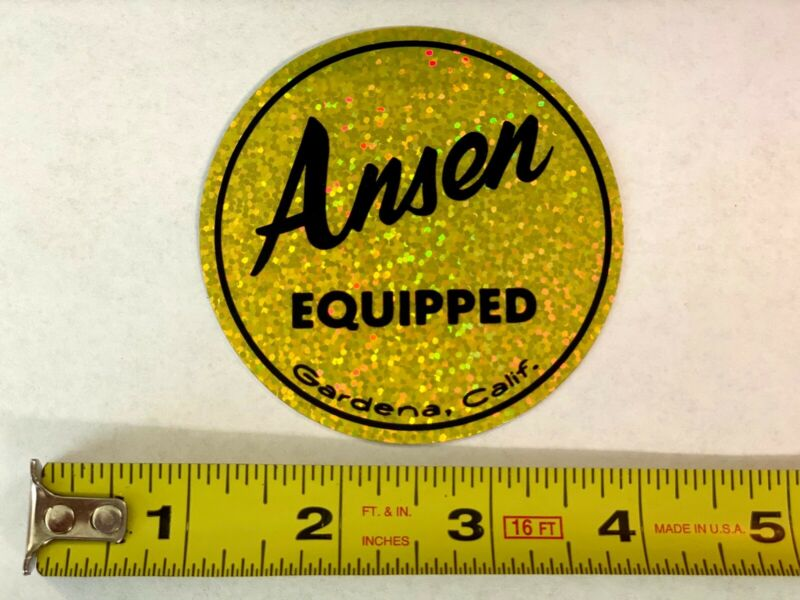 ANSEN EQUIPPED Vintage Drag Racing Prism Metalflake sticker decal Street Rod