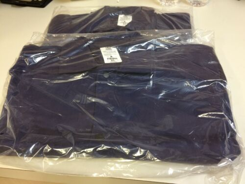 Lot of 2 Stanco Safety Flame Resistant Welding Jackets XL Navy Blue Cotton
