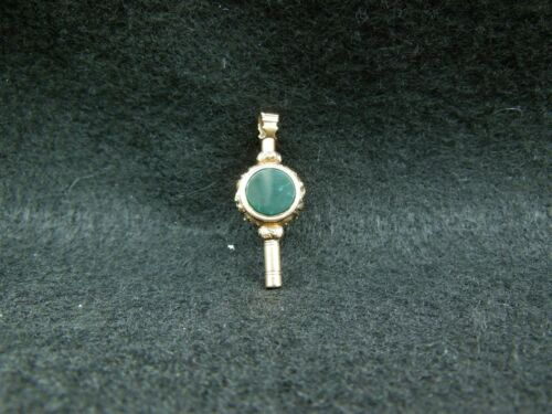 Antique 10Kt Gold Watch Key Fob - Bloodstone and Rock Crystal