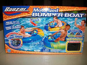 Banzai Motorized Bumper Boat Raft Float With Water Blaster