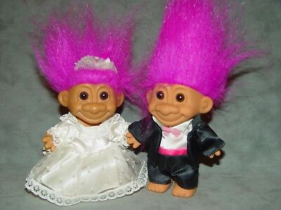 """2 Troll Dolls 4 1/2"""" Russ Wedding Party Bride and Groom Purple Hair B2 for sale  Shipping to India"""