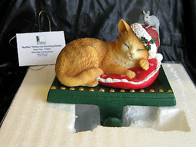 New Ruffles Tabby Cat Adorable Christmas Holiday Stocking Holder Mouse Figurine