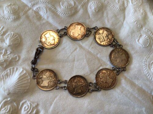 Queen Victoria 5 Cent Hong Kong Silver Bracelet 7 Coins