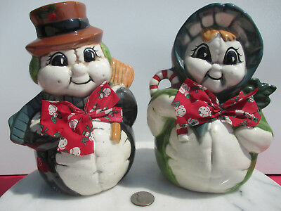 Pair of Vintage Mr & Mrs Frosty Snowman Ceramic Winter Christmas Holiday Figures