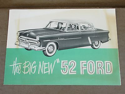 """1952 """"THE BIG NEW"""" FORD FULL LINE CANADIAN BROCHURE, Very Good!"""