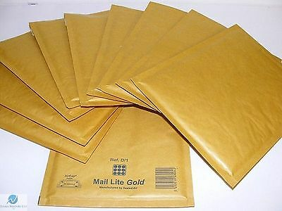 50 D1 D/1 Gold Brown 180 x 260 mm Padded Bubble Wrap Mail Postal Bag Envelope
