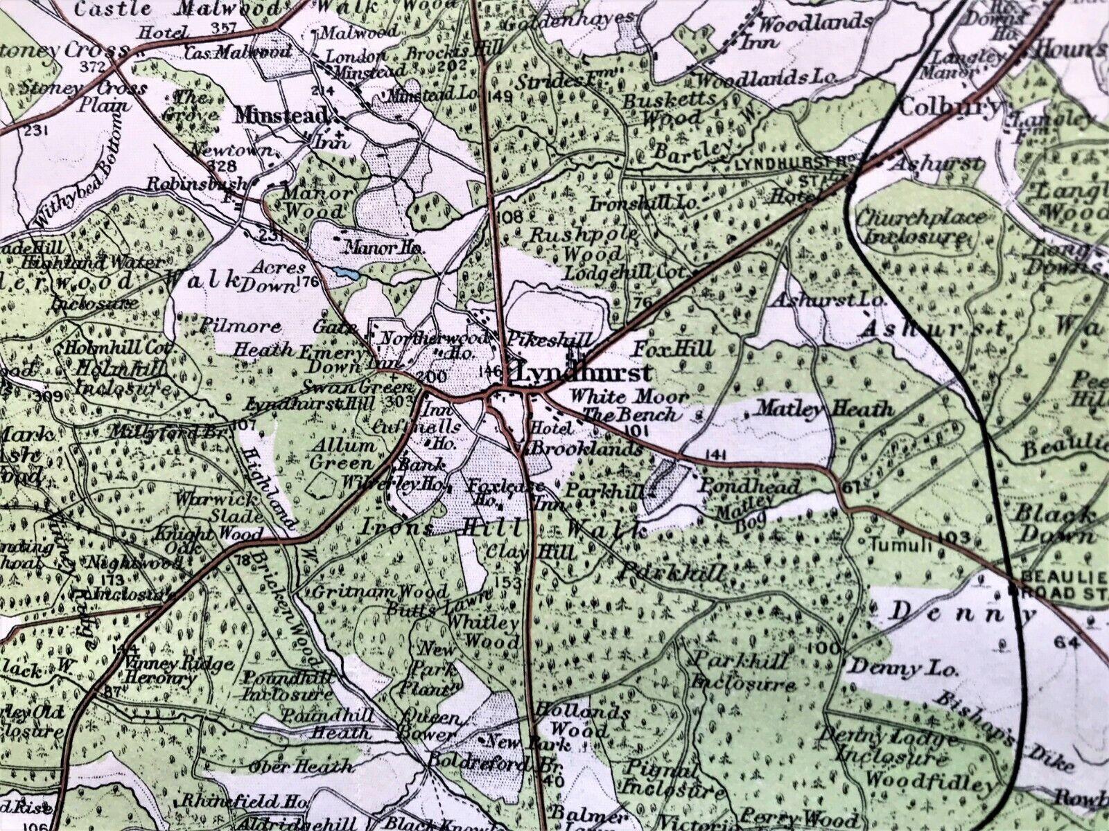 Rare Antique Color Map  NEW FOREST ENGLAND  100 AUTHENTIC  ORIGINAL 1930