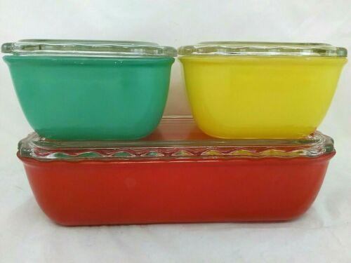 Vintage Jeanette Glass Refrigerator Dish RARE Set of 3 Ruffled edge lids