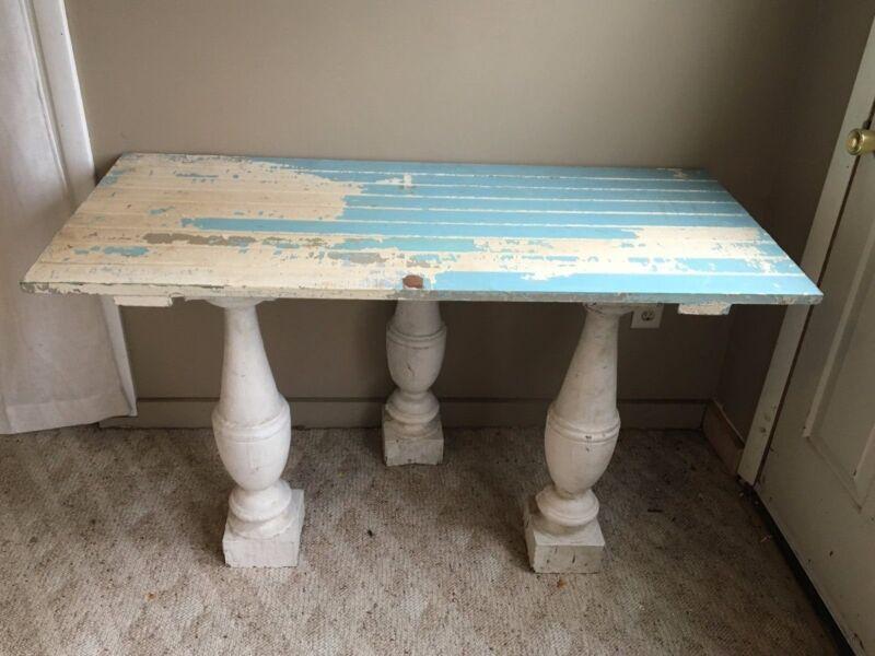Antique Shabby Baluster Turned Wood Cottage Vtg Chic Side Table Legs 124-17J