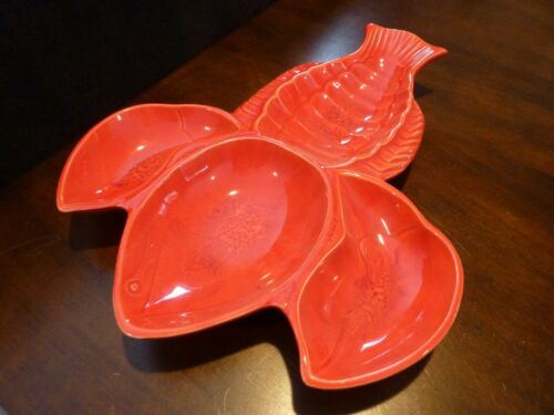 California Originals pottery ceramic red lobster shaped serving dish #181